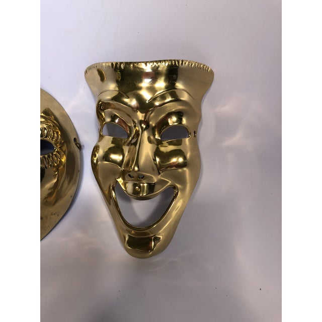 1970s Contemporary Solid Brass Decorative Theater Masks - a Pair For Sale - Image 4 of 6