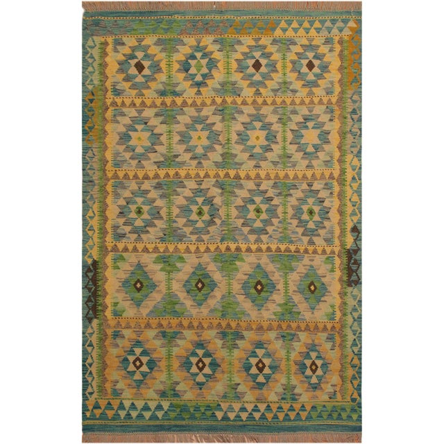 Turquoise Darleen Green/Teal Hand-Woven Kilim Wool Rug -5'2 X 6'7 For Sale - Image 8 of 8