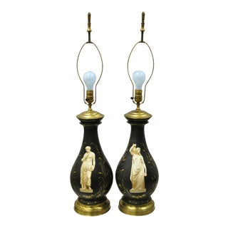 Antique French Neoclassical Black Porcelain Classical Bulbous Table Lamps - Pair For Sale