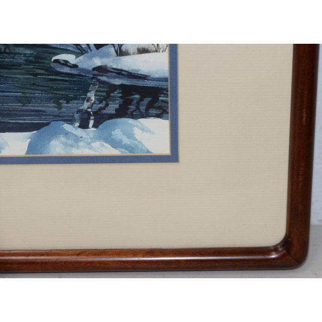 "Late 20th Century Diane Phalen ""Pennsylvania Winter Landscape"" Original Watercolor C.1987 For Sale - Image 5 of 9"