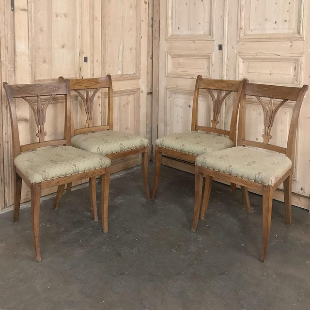 Set of Four 19th Century Swedish Directoire Style Chairs are perfect for the breakfast nook or as occasional chairs...