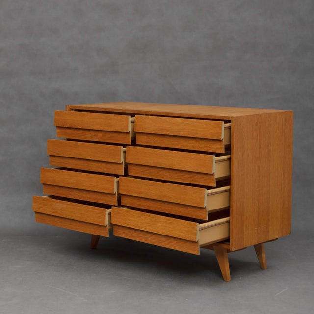 1960s Mid-Century Modern Jiri Jiroutek for Interier Praha 8-Drawers Oak Chest For Sale In New York - Image 6 of 9