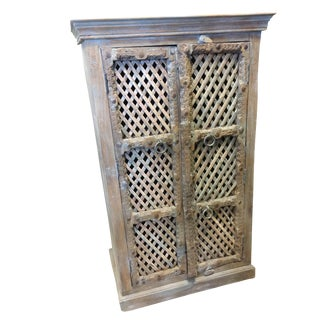 1920s Antique Indian Latticed Window Hand Made Wooden Armoire For Sale