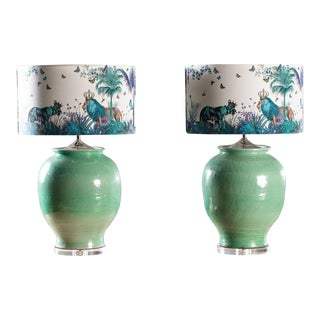 Handmade Turquoise Ceramic Vases Lamps With Custom Shades - a Pair For Sale