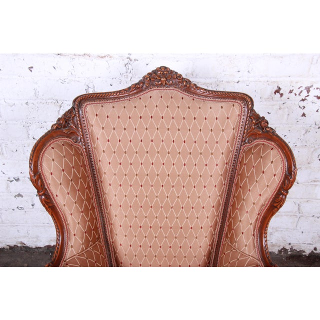 1930s Antique French Carved Wing Back Lounge Chair For Sale - Image 5 of 13