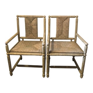 Mr. Brown Rush Seat Chairs - A Pair For Sale
