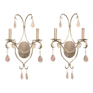 Currey & Co. Modern Boho Chic Rock Crystal Perrin Wall Sconces Pair For Sale