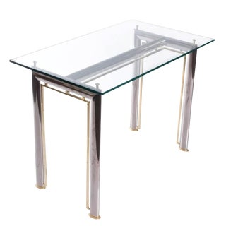 1990s Vintage Brass and Chrome Writing Table For Sale