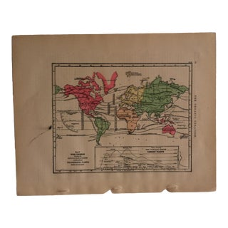 "Antique Geography Map ""The World - Principal Plants"" Sheldon & Company 1867 For Sale"