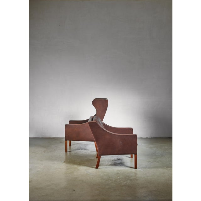 Fredericia Stolefabrik Borge Mogensen Brown Leather Wingback and Lounge Chair With Ottoman For Sale - Image 4 of 7