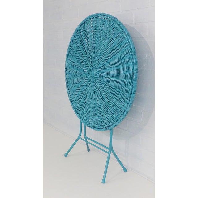 Vintage Teal Folding Wicker Tilt Top Table - Image 2 of 9