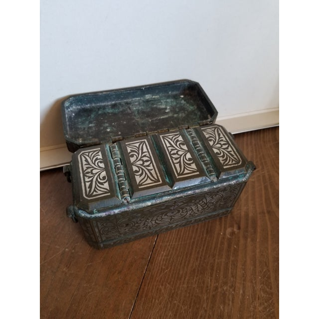 Antique Bronze and Silver Betel Box For Sale - Image 4 of 11