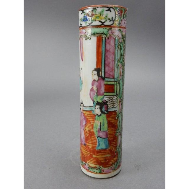 Antique Chinese Export Rose Medallion Cylinder Vase - Image 4 of 11