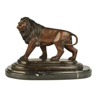 African Wild Safari Lion Bronze Statue on Marble Base Sculpture