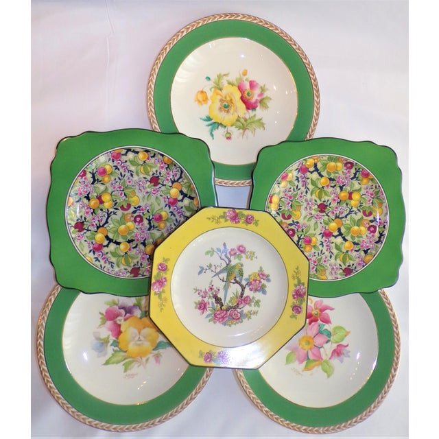 (Final Markdown) 930's Crown Ducal Ware Chintz Plates - Set of 6 For Sale In Houston - Image 6 of 13