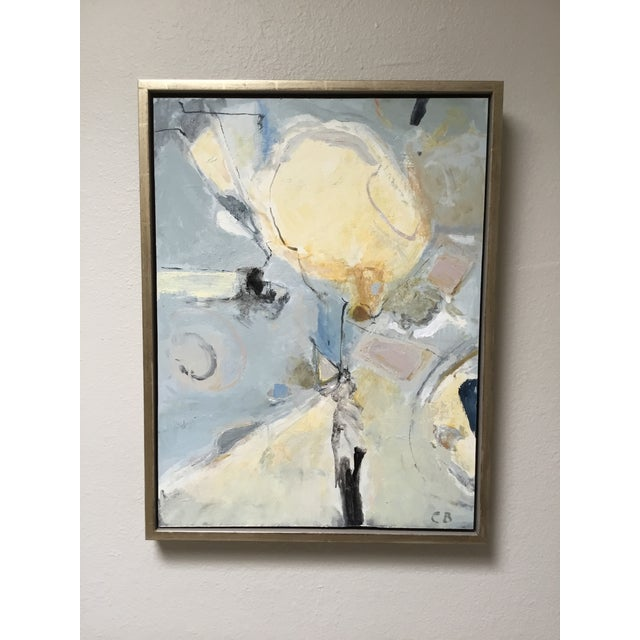 Abstract Painting in Grey, Blue, and Ivory - Image 2 of 8