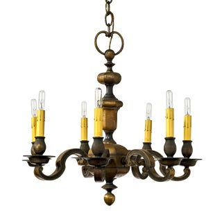 1920's English Traditional Bronze Seven-Arm Chandelier