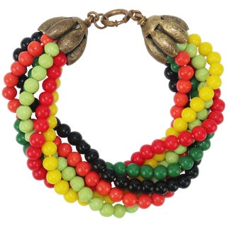 1950's Multi Strand Colorful Glass Bead Bracelet For Sale