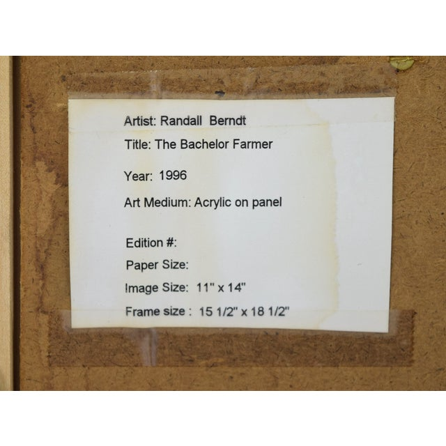 """Green Randall Berndt """"The Bachelor Farmer"""" Painting on Board For Sale - Image 8 of 9"""
