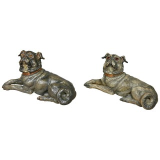 Two Terracotta Figures of Reclining Pug Dogs For Sale