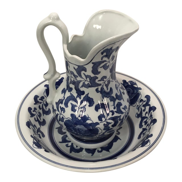 Ashley Belle Cobalt Blue & White Floral Design Pitcher and Bowl Set For Sale