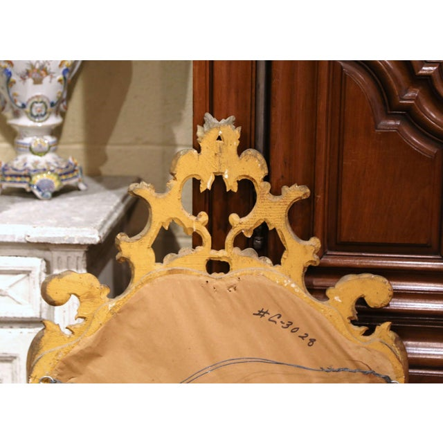 Wood Early 20th Century Italian Rococo Carved Giltwood Wall Mirror For Sale - Image 7 of 8