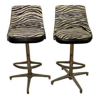 Mid Century Danish Modern Chromcraft Zebra Print Swivel Bar Stools - A Pair For Sale