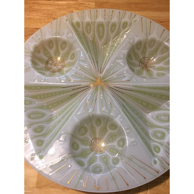 Rare Higgins Art Glass Vintage White Peacock Tray - Image 3 of 5
