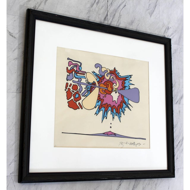 Mid-Century Modern Mid-Century Modern Framed Litho Winter Sunshine Peter Max Signed Numbered 1970s For Sale - Image 3 of 8
