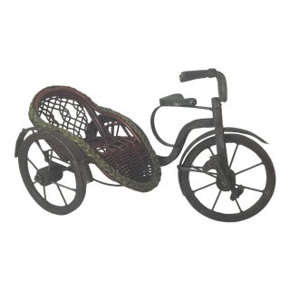 1920s Antique German Mechanical Metal And Wicker Doll Tricycle For Sale