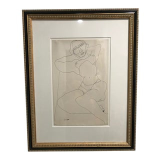 1936 Abstract Figurative Nude Sketch by Louise Nevelson, Framed For Sale