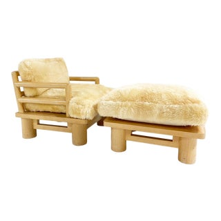 Karl Springer Dowelwood Lounge Chair and Ottoman With Sheepskin Cushions For Sale