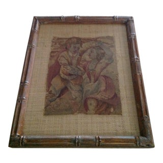 Antique French Aubusson Fragment, Custom Mat and Framed For Sale