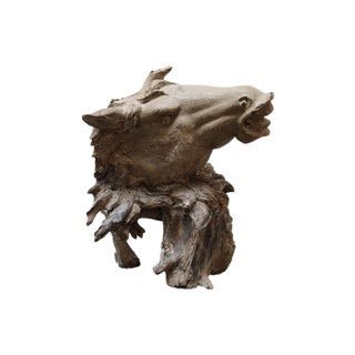 Hand Carved Bust of Horse Head in Wood