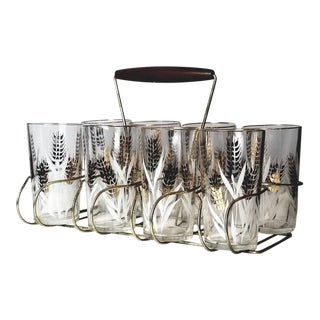 Mid-Century Highball Glasses With Gold Wheat Spikes and White Leaves in Carrier - Set of 9 For Sale