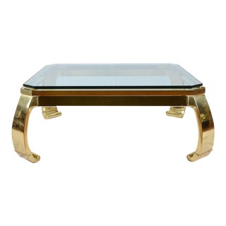 Karl Springer Inspired Brass Coffee Table for Master Craft