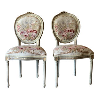 Modern Christine Louis XIV Style Oval Back Fauteuils- A Pair For Sale