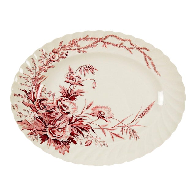 English Red Transferware Platter - Image 1 of 4