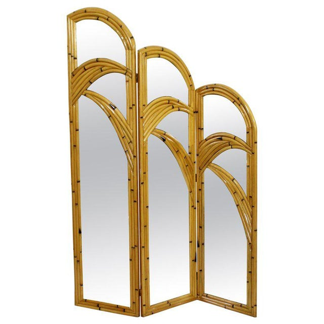 Brown 1970s Mid-Century Modern 3 Panel Rattan and Mirror Folding Screen Room Divider For Sale - Image 8 of 8