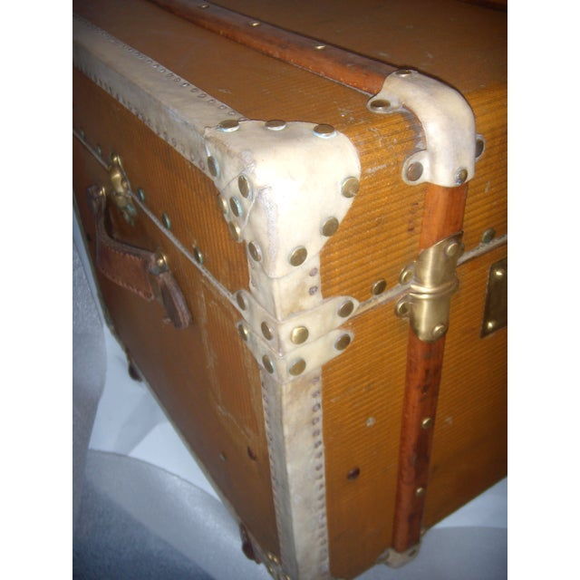 French Wood, Vellum & Leather Trunk - Image 10 of 10