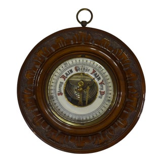 Vintage English Carved Mahogany Barometer For Sale