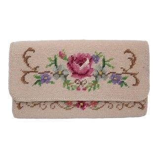 Vintage Floral Needlepoint Envelope Clutch Handbag For Sale