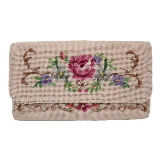 Vintage Floral Needlepoint Envelope Clutch Handbag For Sale