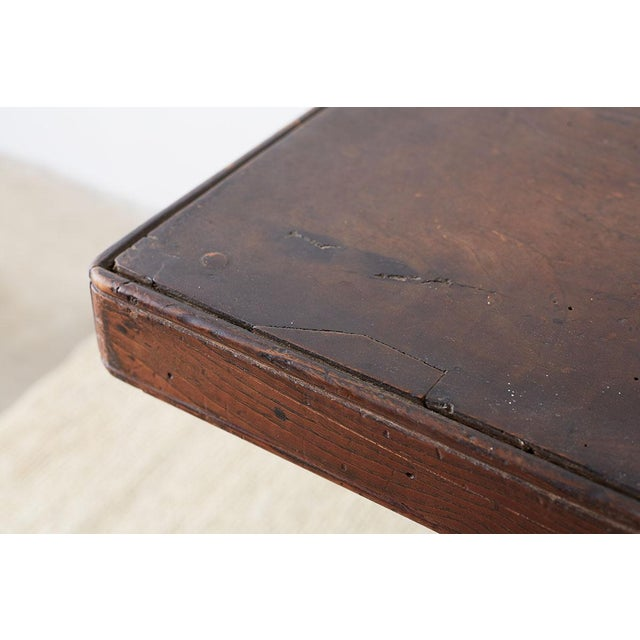 Oak Rustic Italian Baroque Refectory Trestle Table For Sale - Image 7 of 13