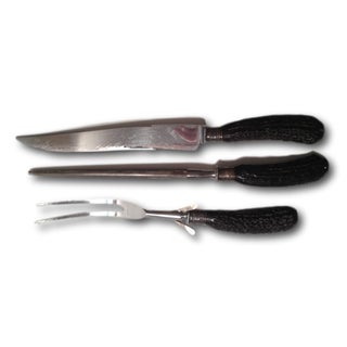Vintage Faux Horn Stainless Steel Carving Set - 3 Pieces For Sale