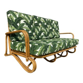 """Restored """"Hairpin"""" Leg Rattan 2-Strand 3-Seater Sofa With Bent Pole Arms For Sale"""