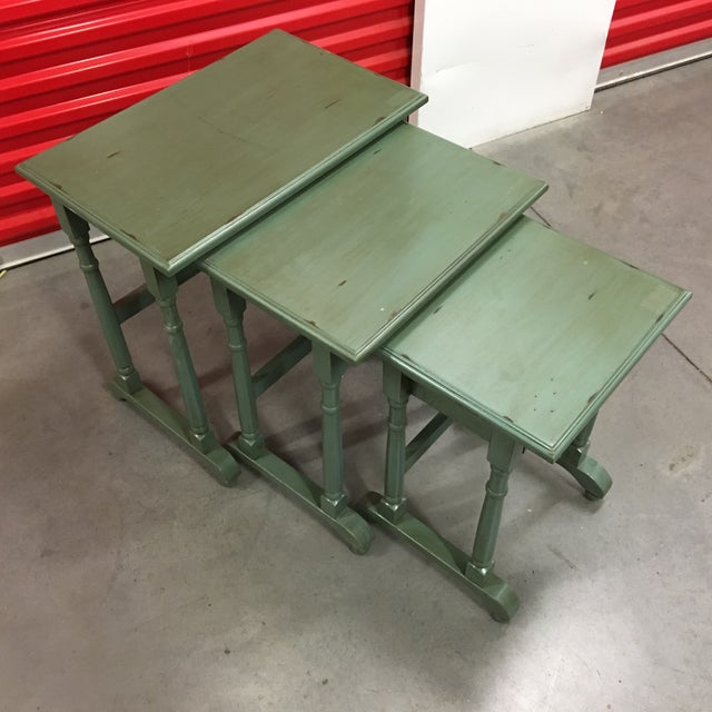 Green solid wood distressed nesting tables chairish set of 3 solid wood green nesting table for sale these are new and are watchthetrailerfo