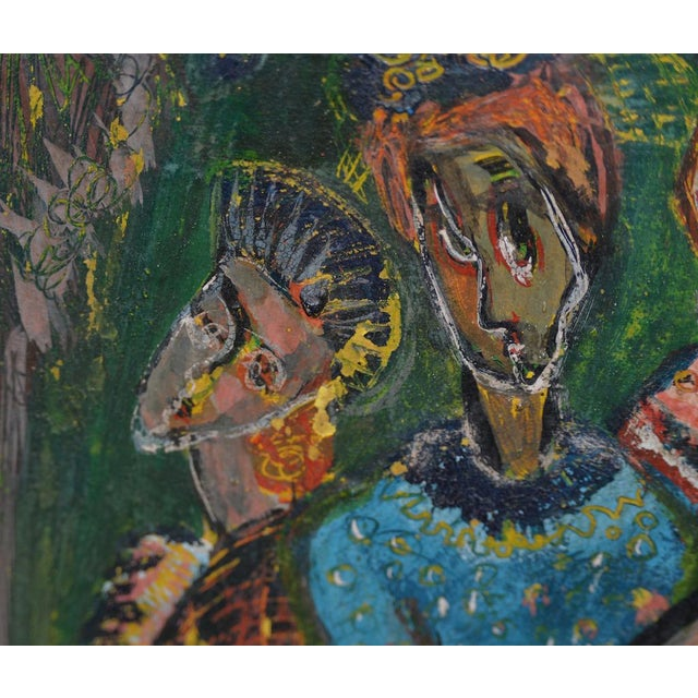 """Green Ruth Rosekrans (1926-2007) """"Sisters"""" Original Oil Painting C.1950s For Sale - Image 8 of 10"""