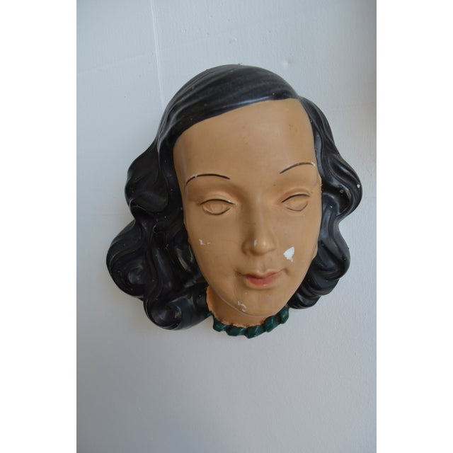 Brown Mid Century Women's Face Masks - a Pair For Sale - Image 8 of 13