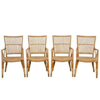 Danish Modern Bamboo Dining Chairs - Set of 4